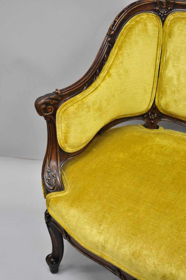 Antique French Louis XV Style Finely Carved Mahogany Settee Loveseat For Sale 4