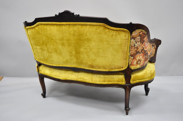 Antique French Louis XV Style Finely Carved Mahogany Settee Loveseat For Sale 5