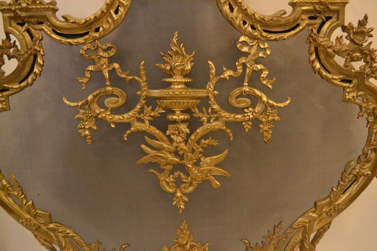 Antique French Louis XV Style Firescreen In Good Condition For Sale In New Orleans, LA