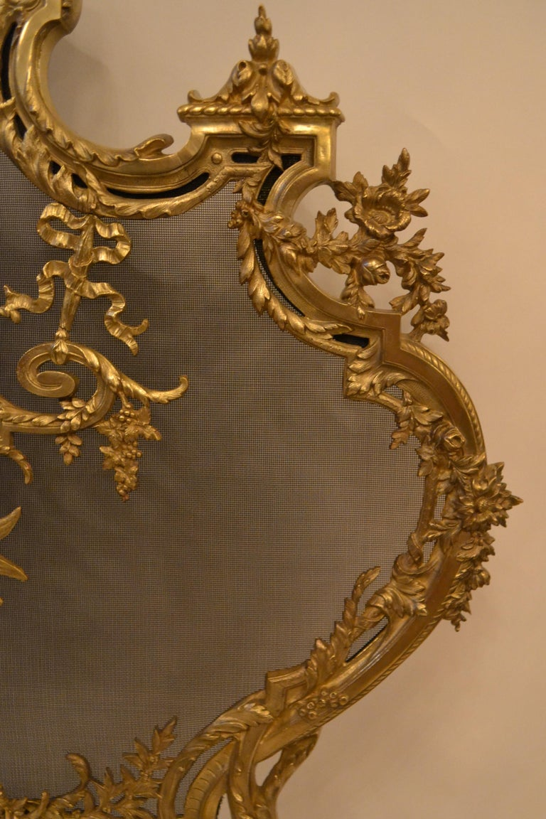 19th Century Antique French Louis XV Style Firescreen For Sale