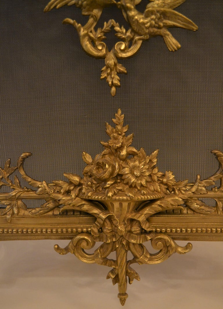 Bronze Antique French Louis XV Style Firescreen For Sale