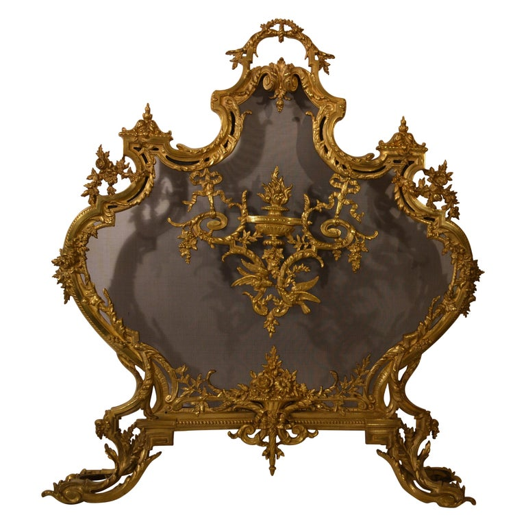 Antique French Louis XV Style Firescreen For Sale