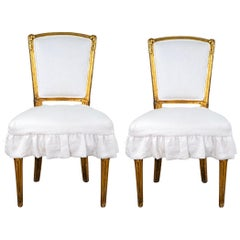 Antique French Louis XV Style Gilded Accent Chairs