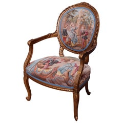 Antique French Louis XV Style Giltwood & Tapestry Fauteuil Armchair, 20th C