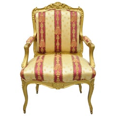 Antique French Louis XV Style Gold Gilt Parlor Arm Lounge Chair