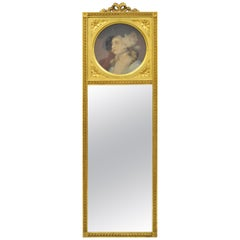 Antique French Louis XV Style Gold Gilt Wood Trumeau Mirror with Portrait Print