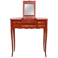 Antique French Louis XV Style Mahogany Vanity with Inlaid Floral Marquetry