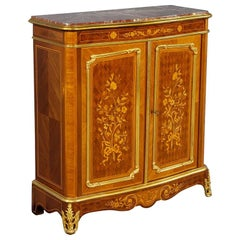 Antique French Louis XV Style Marble Top Commode Cabinet