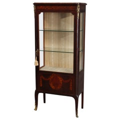 Antique French Louis XV Style Marquetry and Ormolu Decorated Vitrine, circa 1890
