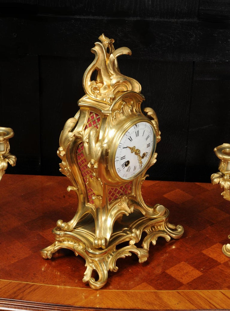 Antique French Louis XV Style Ormolu Rococo Clock Set For Sale 6