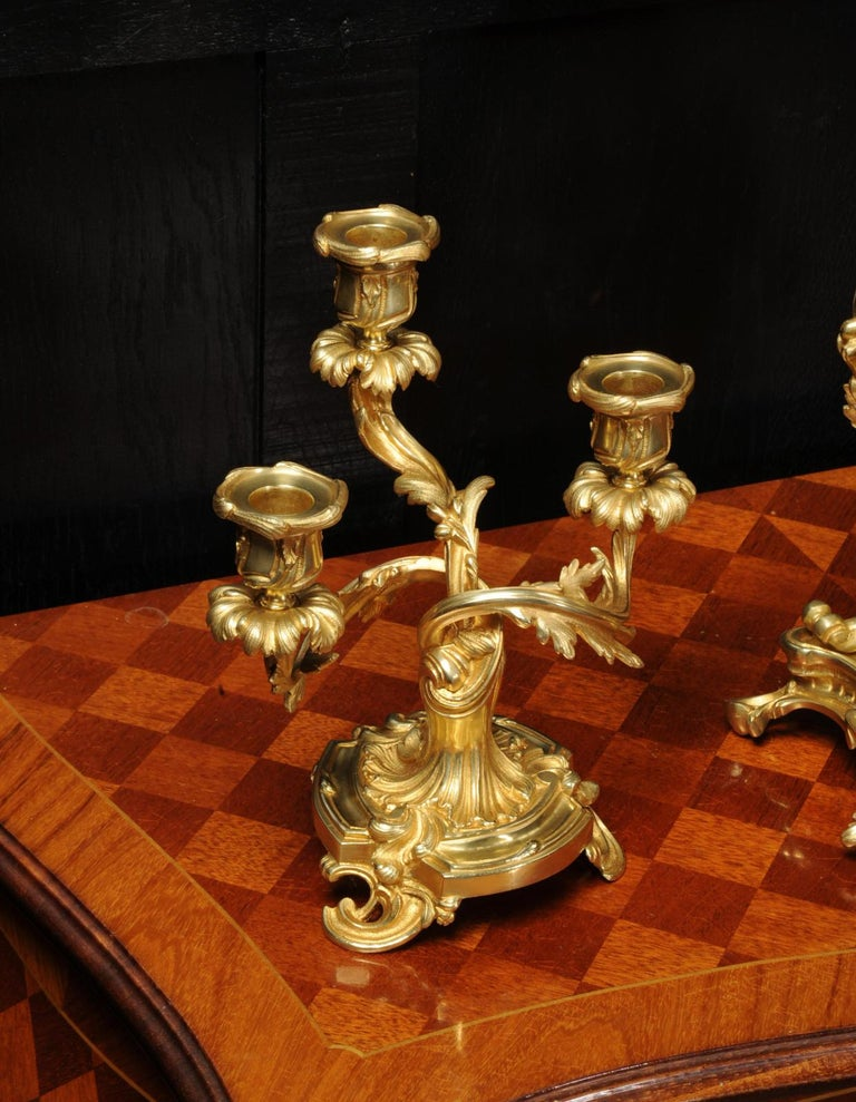 Antique French Louis XV Style Ormolu Rococo Clock Set For Sale 7