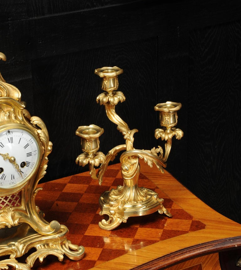 Antique French Louis XV Style Ormolu Rococo Clock Set For Sale 8