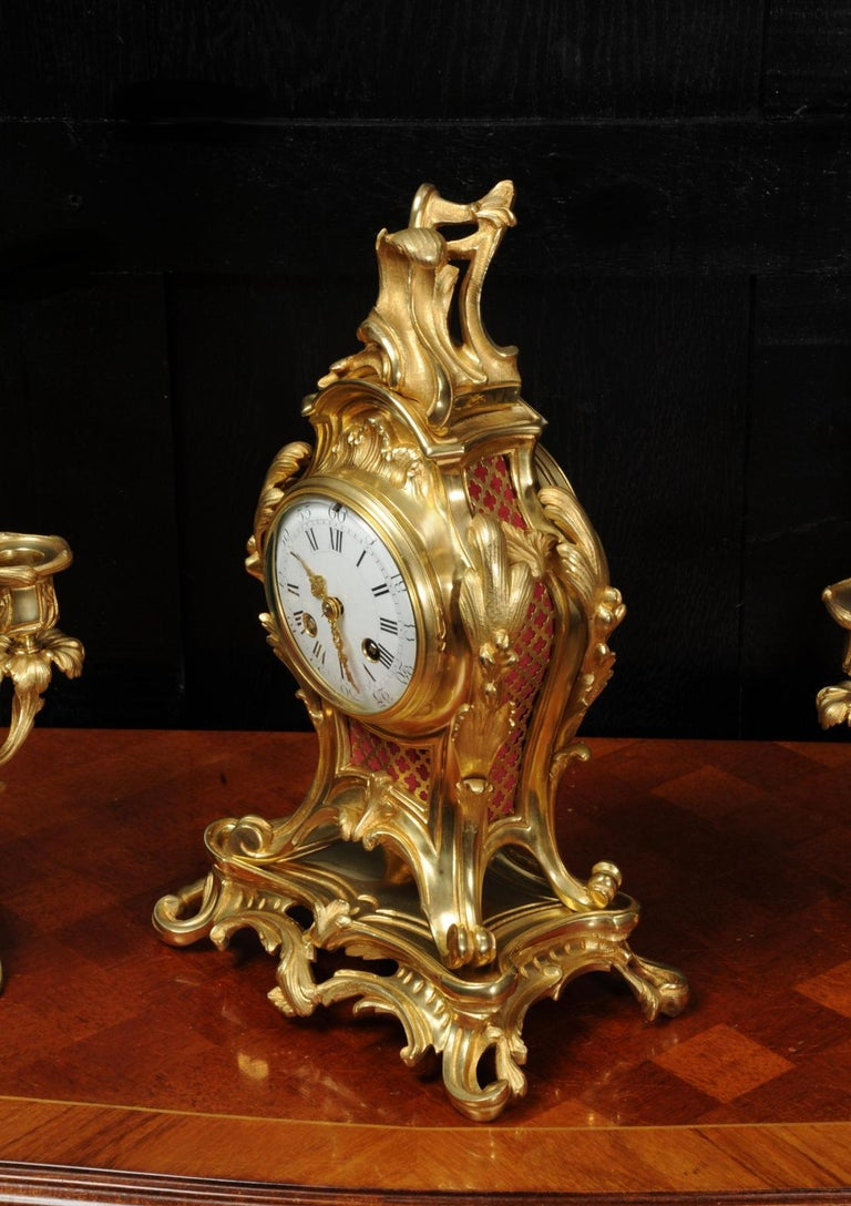 Antique French Louis XV Style Ormolu Rococo Clock Set For Sale 10