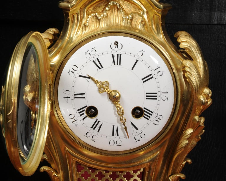 Antique French Louis XV Style Ormolu Rococo Clock Set For Sale 11