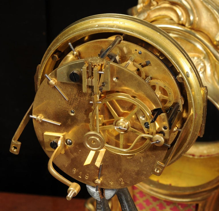 Antique French Louis XV Style Ormolu Rococo Clock Set For Sale 13
