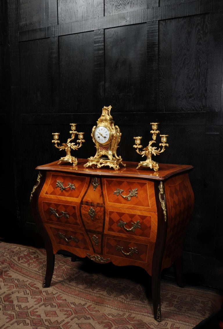19th Century Antique French Louis XV Style Ormolu Rococo Clock Set For Sale