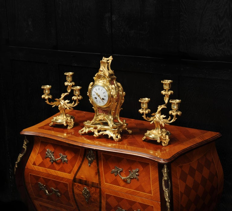 Antique French Louis XV Style Ormolu Rococo Clock Set For Sale 1