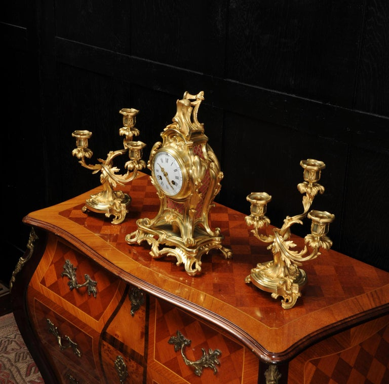 Antique French Louis XV Style Ormolu Rococo Clock Set For Sale 2