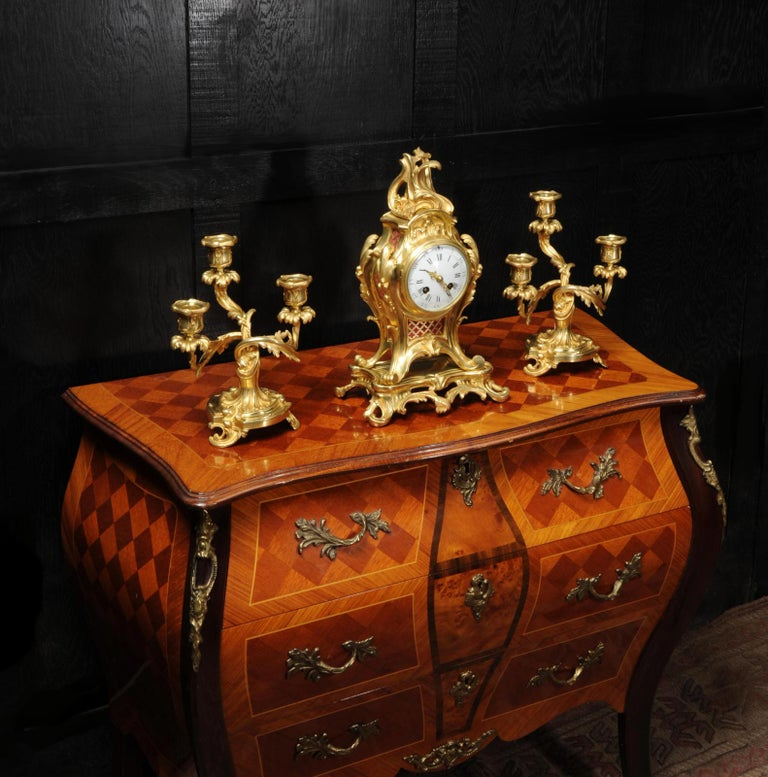 Antique French Louis XV Style Ormolu Rococo Clock Set For Sale 3