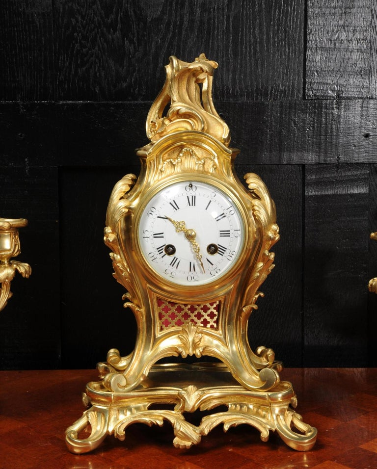 Antique French Louis XV Style Ormolu Rococo Clock Set For Sale 5