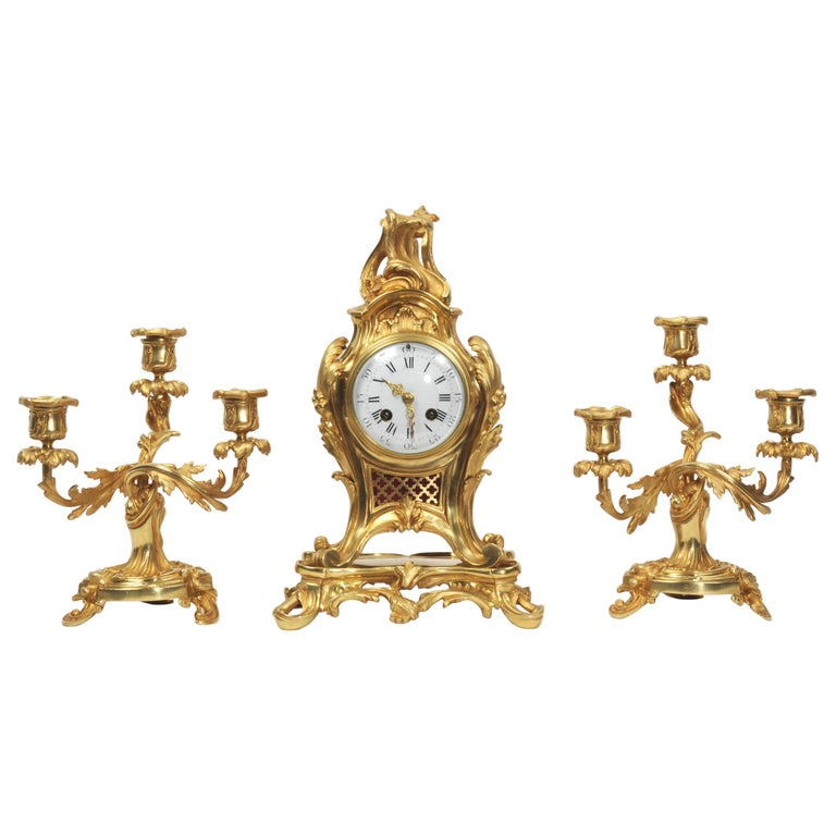 Antique French Louis XV Style Ormolu Rococo Clock Set For Sale
