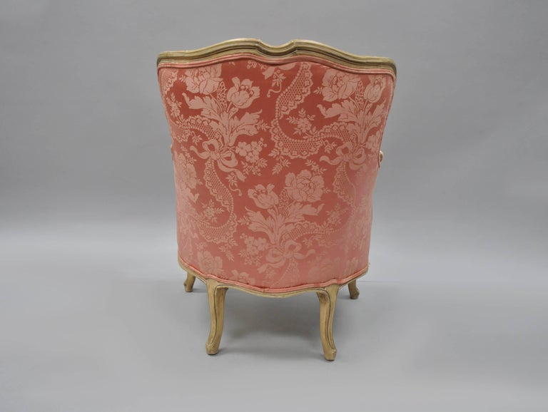 Antique French Louis XV Style Painted and Upholstered Bergere Childs Chair For Sale 5