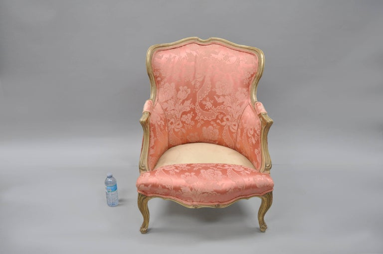 Antique French Louis XV Style Painted and Upholstered Bergere Childs Chair For Sale 6