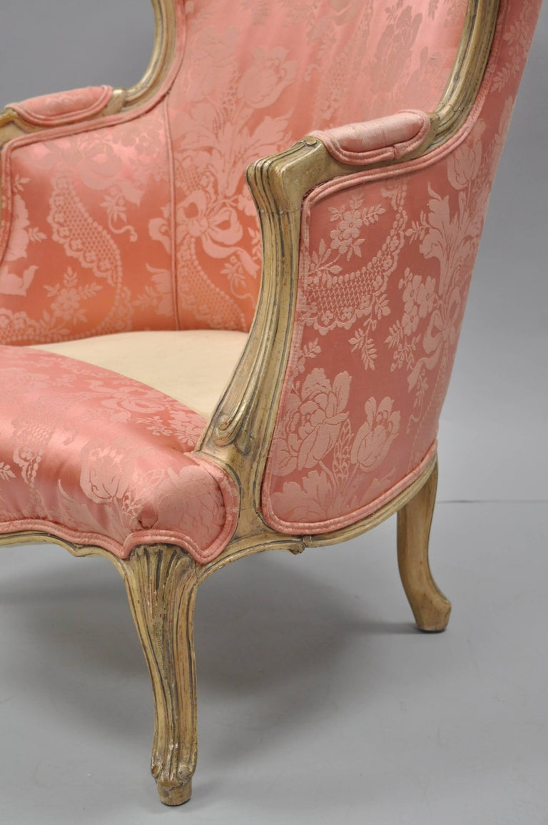 Antique French Louis XV Style Painted and Upholstered Bergere Childs Chair In Good Condition For Sale In Philadelphia, PA