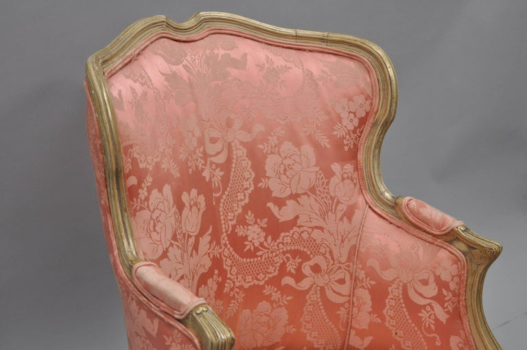 Early 20th Century Antique French Louis XV Style Painted and Upholstered Bergere Childs Chair For Sale