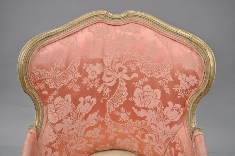 Wood Antique French Louis XV Style Painted and Upholstered Bergere Childs Chair For Sale