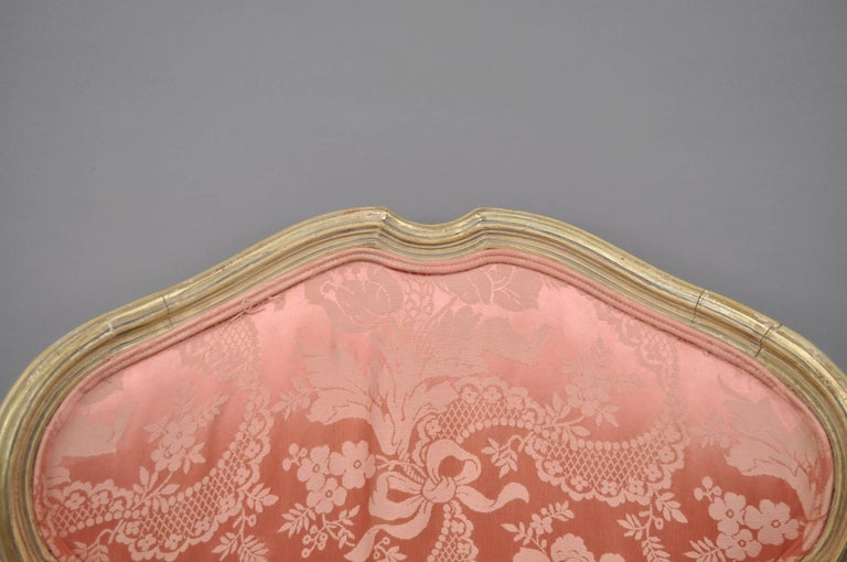 Antique French Louis XV Style Painted and Upholstered Bergere Childs Chair For Sale 1