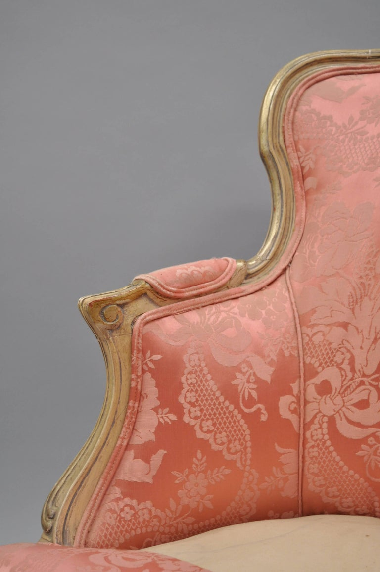 Antique French Louis XV Style Painted and Upholstered Bergere Childs Chair For Sale 2