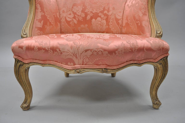Antique French Louis XV Style Painted and Upholstered Bergere Childs Chair For Sale 3