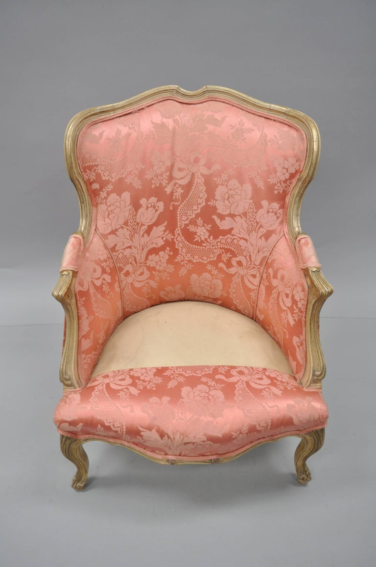 Antique French Louis XV Style Painted and Upholstered Bergere Childs Chair For Sale 4