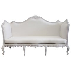 Antique French Louis XV Style Painted and Upholstered Sofa