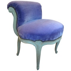 Antique French Louis XV Style Painted Chauffeuse or Slipper Chair