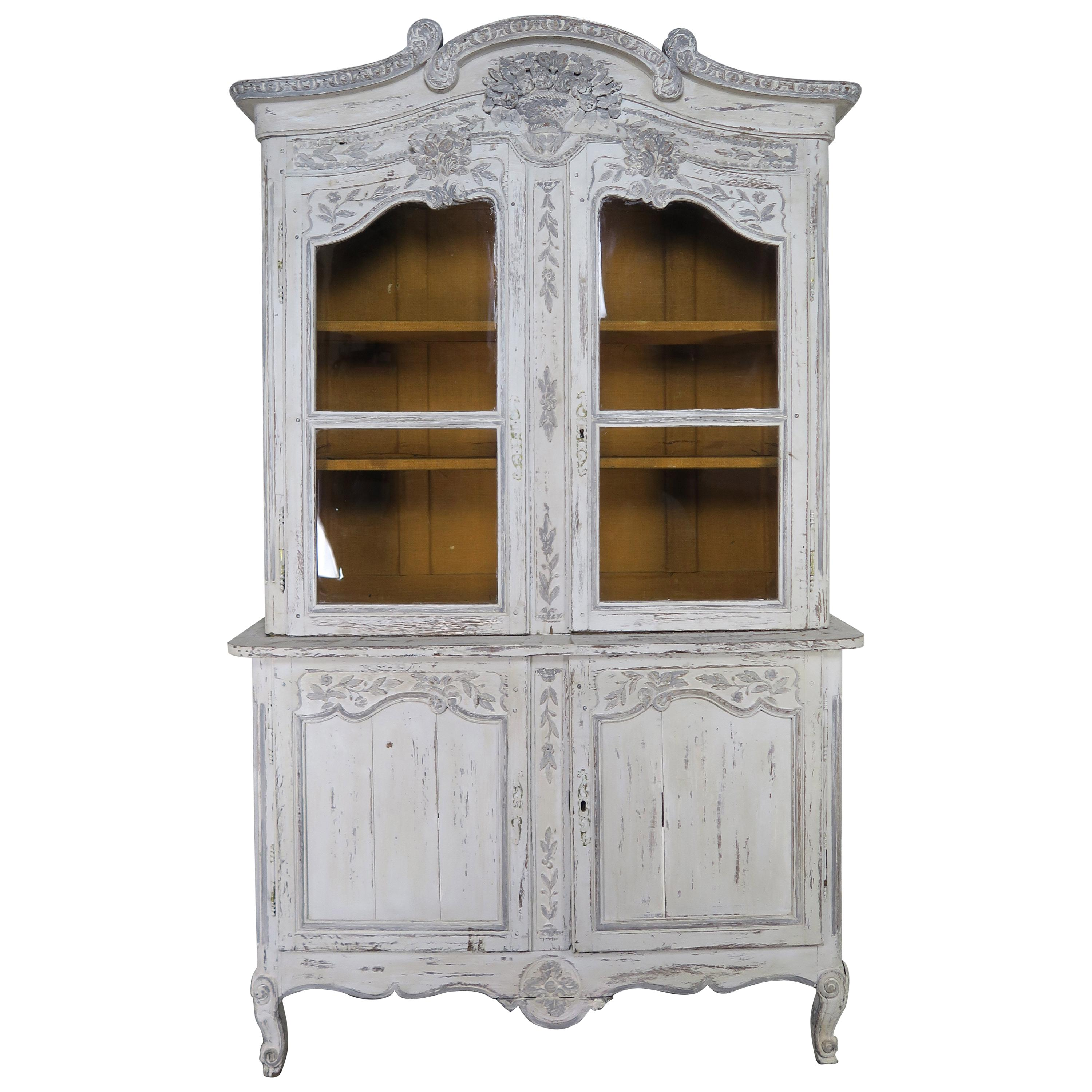 Antique French Louis XV Style Painted Wedding Armoire