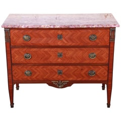 Antique French Louis XV Style Parquetry Mahogany Marble Top Chest of Drawers