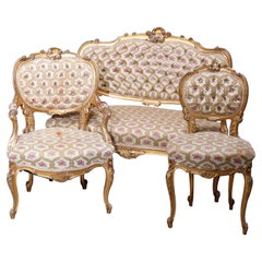 Antique French Louis XV Style Three-Piece Giltwood Upholstered Parlor Set, c1890