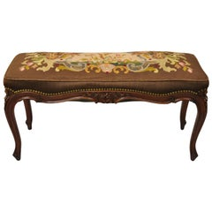Antique French Louis XV Style Victorian Carved Mahogany Needlepoint Brown Bench