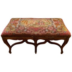 Antique French Louis XV Style Walnut Bench