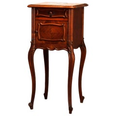 Antique French Louis XV Style Walnut Marble Top & Lined Side Stand, Circa 1890