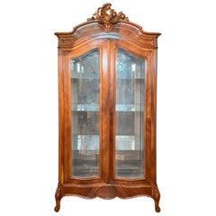 Antique French Louis XV Walnut and Glass Vitrine Cabinet, Circa 1880