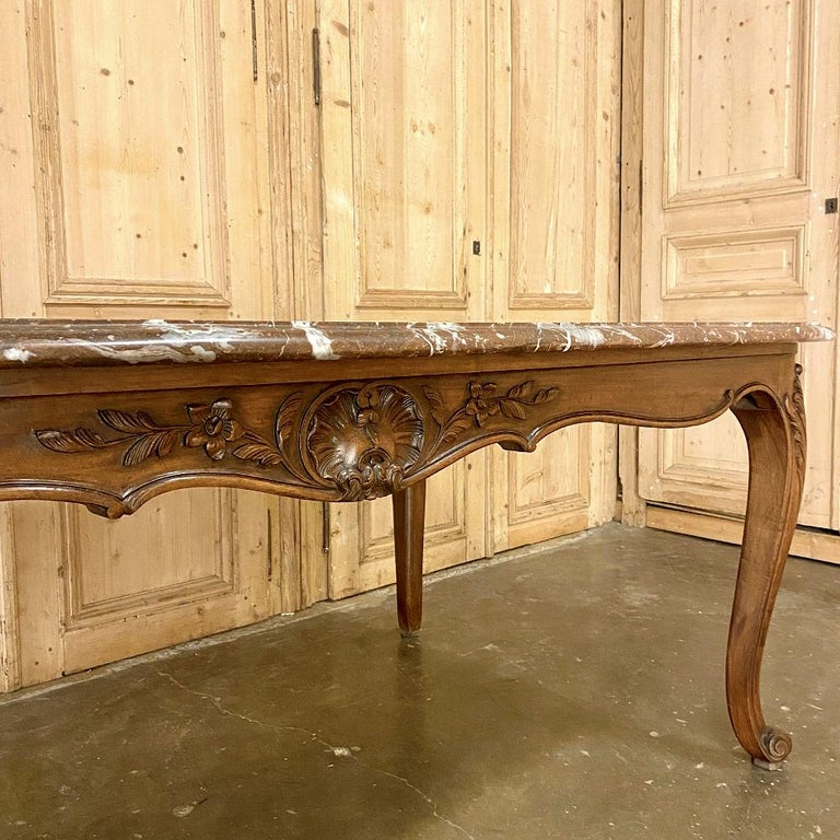 Antique French Louis XV Walnut Marble-Top Dining Table For Sale 5