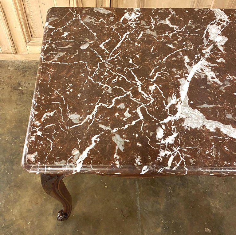 Antique French Louis XV Walnut Marble-Top Dining Table For Sale 6