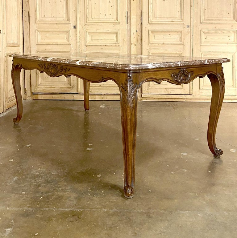 Hand-Carved Antique French Louis XV Walnut Marble-Top Dining Table For Sale