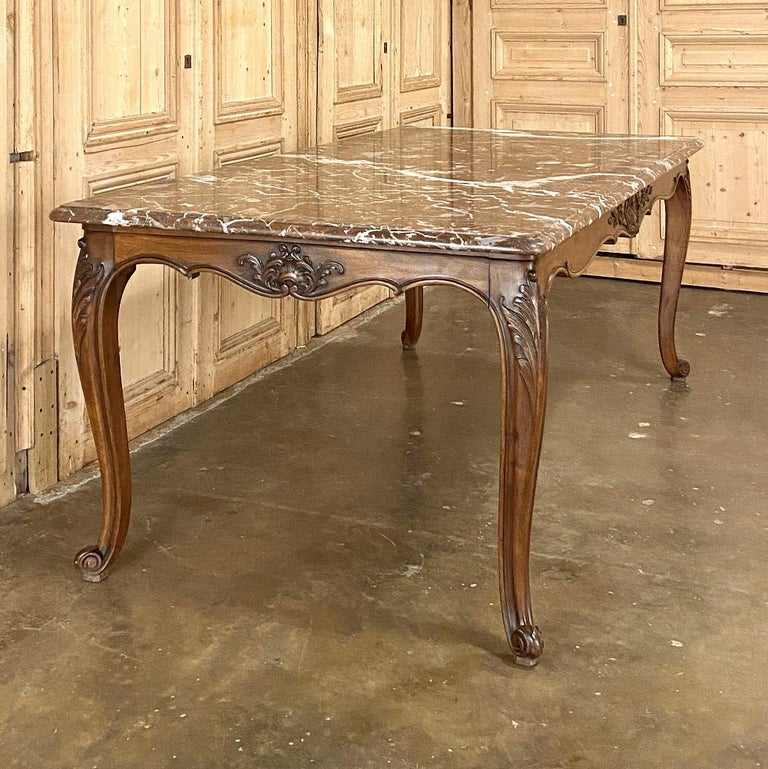 Antique French Louis XV Walnut Marble-Top Dining Table In Good Condition For Sale In Dallas, TX