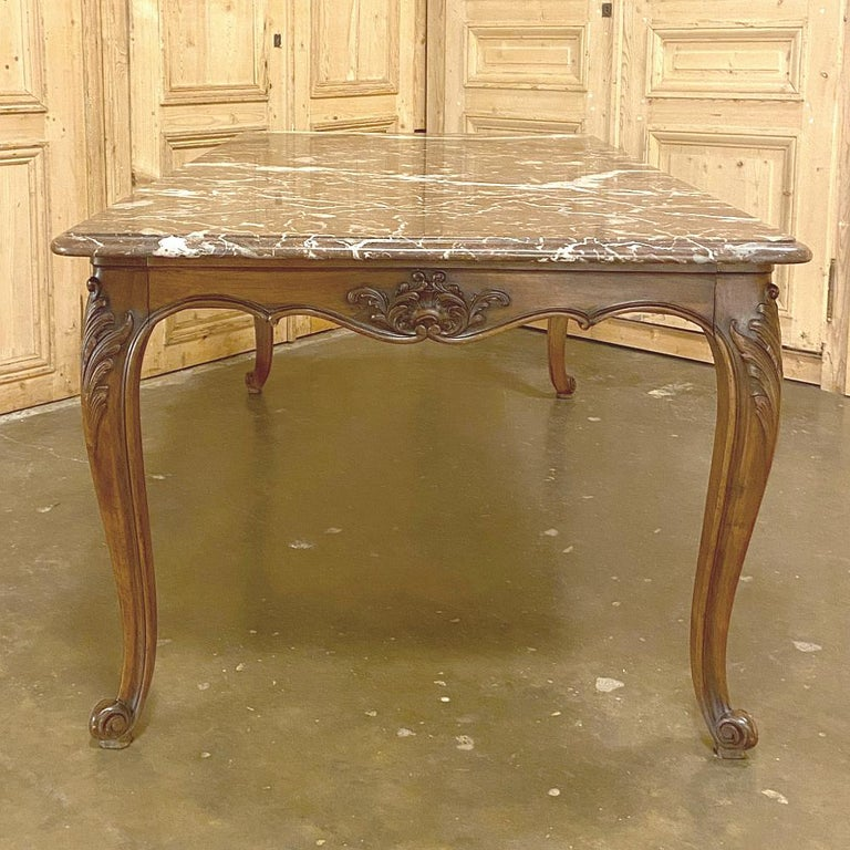20th Century Antique French Louis XV Walnut Marble-Top Dining Table For Sale