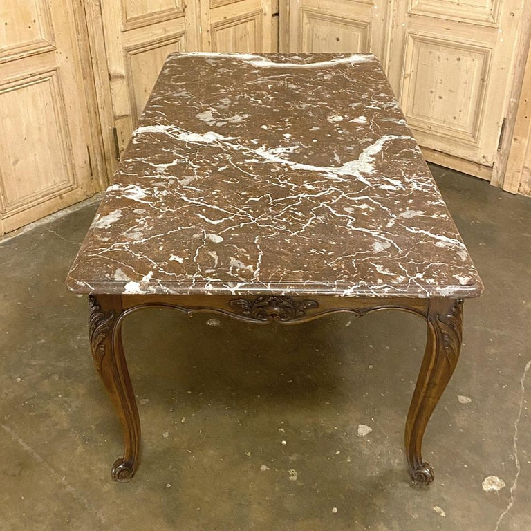 Antique French Louis XV Walnut Marble-Top Dining Table For Sale 1