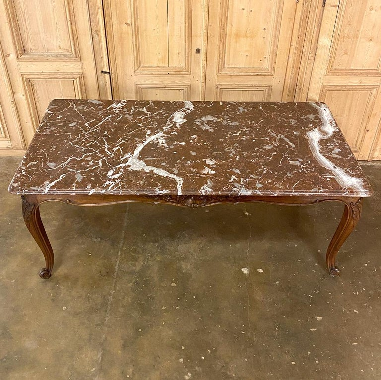 Antique French Louis XV Walnut Marble-Top Dining Table For Sale 2
